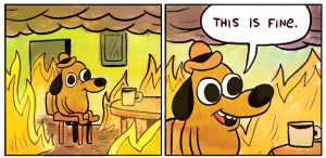 """This Is Fine"" dog. Credit: K.C. Green"