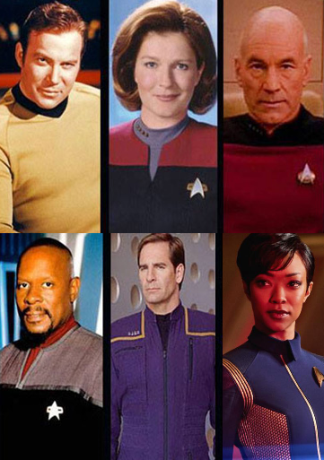 PICTURED FROM TOP LEFT: A REGULAR STARFLEET OFFICER WHO'S YOUNG, A REGULAR STARFLEET OFFICER WHO'S A WOMAN, A REGULAR STARFLEET OFFICER, A REGULAR STARFLEET OFFICER WHO'S THE BEST, THE FIRST REGULAR STARFLEET OFFICER, A GRADUATE OF THE VULCAN SCIENCE ACADEMY WITH A TRAGIC PAST WHO SOMEHOW HAS A HIGH-RANKING STARFLEET COMMISSION AND NEARLY BECAME THE YOUNGEST CAPTAIN IN THE FLEET WITHOUT EVER APPARENTLY GOING TO STARFLEET ACADEMY OH AND ALSO SHE'S SPOCK SECRET ADOPTIVE SISTER HE NEVER EVER EVEN ONCE TALKED ABOUT